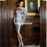 Wholesale Custom Made Gray Mother Of The Bride Dresses Sheath Sleeves Lace Knee Length Short Evening Dresses Mother Dresses For Wedding