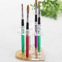 art brush holder - Fashion Makeup Nail Art Design Tool Holes Pen Brush Holder Heart Gold Rest Stand