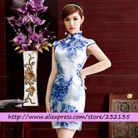 Wholesale Blue and white porcelain Vintage Cheongsams Chinese silk Qipao Plus Size sexy Dress Chinese Traditional Dress drop shipping