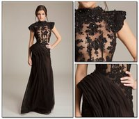 abed mahfouz - Sexy Black Formal Evening Dresses High Neck Cap Sleeves Illusion Bodice Sequins Beaded Appliques Chiffon Abed Mahfouz Prom Dresses