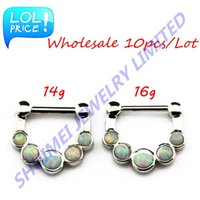 Cheap SHUIMEI Wholesale 10Pcs Lot 14g,16g Opal Stone Septum Clicker Stainless Steel Nose Ring Stud Nose Piercing Body Jewelry