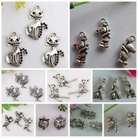 animal charms - Hot Antique Silver zinc alloy Mixed Animal Charm pendants DIY Jewelry style mm22