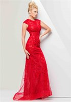 Wholesale 2015 Modest High Neck Red Lace Formal Evening Dresses Cap Sleeve Long Prom Dresses Red Carpet Dresses with Zipper Back