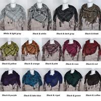 arab keffiyeh scarf - Fashion Unisex Checkered Arab Shemagh Grid Neck Keffiyeh Palestine Scarf Wrap Color EMS