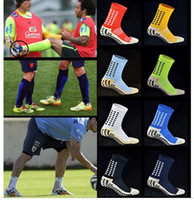 Wholesale New anti slip soccer socks colors fashion men trusox Mid calf Cotton football socks Calcetines Team Sport socks Short Stockings DHL FREE