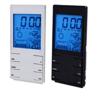 Wholesale Hot sale New LCD Digital Thermometer Temperature Humidity Meter Hygrometer Clock Weather HTC S