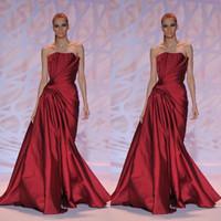 Wholesale Evening Dresses Fall Zuhair Murad Celebrity Red Carpet High Quality Strapless Sheath Full Length Draping Satin Burgundy Prom Dresses