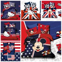 bedding comforter suppliers - England Style D Mickey Mouse Minne Printing Bedding Sets For Kids Cotton Queen King Size Bedclothes Cartoon Children Bed Suppliers