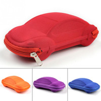 Wholesale 2015 NEW Solid Color Kids Car Shaped Packaging Case Box Compression Eye Glasses Storage Sunglasses Protector