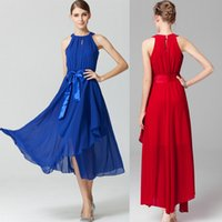 Wholesale new EUR Irregular big swing sleeveless chiffon dress Temperament strapless long dresses elegant Bridesmaid Dress colors