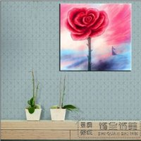 Cheap China Wind Rose watercolor painting decorative painting frame painting murals modern living room sofa background painting Pure h