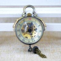 balls watch hands - M005 Bronze Ball shape Pocket Chain Hand Wind Mechanical Pocket Watch Men Women Clamshell Skeleton Gears Round Dial Watch Gift