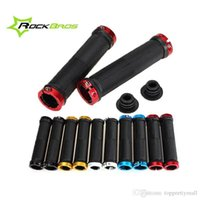 Wholesale ROCKBROS Pair MTB Mountain Bike Grips Rubber Lock On Handlebars Lock on Grips Fixed Gear Fixie Grips End knock off colors A3
