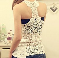 Wholesale 2016 new fashionable sexy colored cotton hollow out vest optional home wear cheap processing