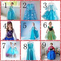 Cheap Whole Sale Princess Clothes Frozen Elsa Princess Dress Elsa & Anna Dresses Costume 10 Styles Kids Party Gowns Cheap Online