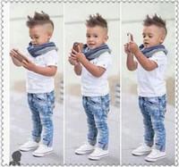 Wholesale 2016 Boys Gentleman Suits Boys T shirt jeans pants Scarf Parure Outfits Kids Leisure Set Baby Child