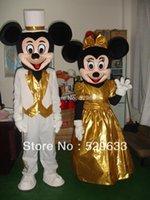dibujos animados Caminar mascota muñecas ropa película de dibujos animados de felpa apoyos oro ropa de la boda MICKEY MOUSE traje de la historieta