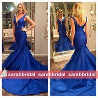 beauty drops sales - Royal Blue Evening Dresses For Beauty Pageant Prom Womens Formal Wear Sale Cheap Satin Mermaid Arabic Dubai Aso Ebi Style Gowns