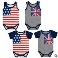baby fashion uk - UK USA Flag baby jumpsuits cotton short sleeved romper new arrive toddler fashion sleeveless rompers