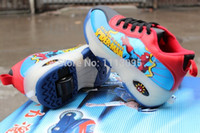 baby ice skates - Retail pair PU Leather Baby Boys Spiderman Roller Shoes Ice Skates Flying Shoes With Wheels