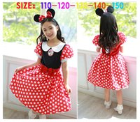 Wholesale 2015 Baby Girls Minnie Mouse Clothing Kids Polka Dots Summer Dress Headband pc Set Children Cosplay Costume Child Cartoon Outfit Clothes