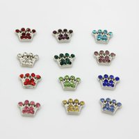 Wholesale rhinestones birthstone mix colors crown floating charms fit for floating locket