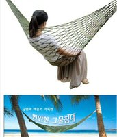 Cheap Portable Garden Outdoor Camping Travel furniture Mesh Hammock swing Sleeping Bed Nylon Hang Net Large Size 270x80cm Hammocks Free DHL UPS