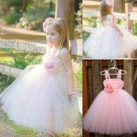 Cheap Little Girls Pageant Dresses Spaghetti Strap Tea Length Hand Made Flower White Tulle 2015 Ball Gown For Little Girls