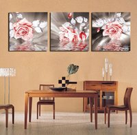 Cheap 3 Piece Free Shipping Hot Sell Modern Wall Painting Home Decorative Art Picture Paint on Canvas Pure hand-painted The rose water