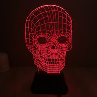 Wholesale 3D LED Light Cubes Night Lights Creative Child Playmate Modern Lighting Table Lamp Plug Led Color Changing Light Bulb Colorful Skull As Gift