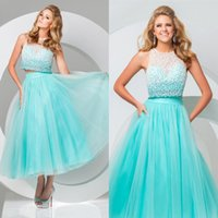 Cheap Modest Aqua Two Piece Prom Dresses 2015 Sparkle Crystal Tulle Lovely Ankle-Length Homecoming Party Dress Evening Gowns Vestidos de Festa