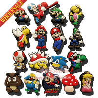 Shoe Decorations plastic ornament - Hot Sale Mixed Super Mario Bros PVC SHOE CHARMS For shoe charms wristbands Shoe Ornaments accessories for shoe wristband party gifts