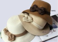 Wholesale New Arrival Hats Knitted Spring Summer Bowknot White Beige Brown Colors