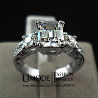 emeralds - UMODE Exclusive The white gold Plated Rectangle Emerald Cut CZ Zircon Engagement Rings JR0060