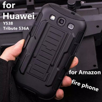 amazon covers phone - Robot armor Silicone Case for Amazon fire phone PC TPU Defender cover for Huawei Y538 Tribute A with Front Screen Belt Clip Packing