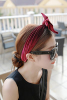 Wholesale Mix Color Velvet Rabbit Ear Hair Band Women Lovely Hair Accessories Boutique Tire Girl Bowknot Shower Head Band EMS H