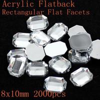 acrylic crystals bulk - New fashion acrylic flat back rectangular flat facets many sizes crystal color acrylic rhinestone glue on beads decorate DIY Bulk Bag