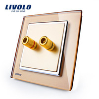 Wholesale LIVOLO New Arrival Home Wall Sound Acoustics Socket plug Golden Glass Panel VL W291A