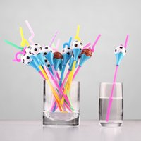 basketball party supplies - Cartoon Football Basketball Drinking Straw Cute Color PP Juice Milk Straw Christmas Gift Party Decoration SD974
