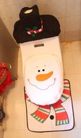 Wholesale 3Pcs Xmas Christmas Decorations Santa Snowman Toilet Seat Cover Rug Bathroom