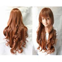 Wholesale Ms anime wigs high temperature wire head ms medium brown curly wig fashion women wig caps can adjust size