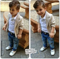 Wholesale european fashion boys denim clothing sets baby kids boys jacket polo shirt denim pants piece children denim clothing sets