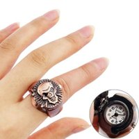 Wholesale 5 pieces Fashion Brown Skull Head Design Flip Open Round Case Finger Ring Watch Mini Analog Watch