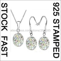 Wholesale Fast Free Ship Crystal AB Austrian Crystal Disco Ball Sterling Silver Shamballa Hook Earring Necklaces Gift Sets