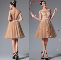 champagne tulle lace prom dress - Sexy Backless Sheer Cocktail Dresses for Party Champagne Tulle Lace Appliques Bridal Wedding Prom Bridesmaid Gowns Cheap Fashion