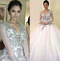 Wholesale 2014 Kim Chiu Ball Gown Wedding Dress V Neck Beaded Crystal Long Sleeves Wedding Dresses Court Train Backless Bridal Gown