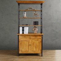 wood bookcase - American wood industry retro style antique furniture solid wood cabinets showcase rustproof iron bookcase shelf