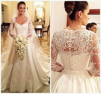 aline wedding dresses - Aline Wedding Dresses Square Long Sleeves Bridal Gowns Lace Applique Covered Button Bow Sash Sweep Train Satin Wedding Dress Noiva WWL