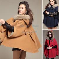 Wholesale 2014 Winter Warm Women Batwing Coats Wool Fashion New Poncho Coat Jacket Loose Cloak Cape