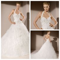 Wholesale 2016 Collection Divina Sposa Ball Gown Bridal Gowns Sweetheart White Tulle Halter Backless Sweep Train Beads Vintage Wedding Dresses